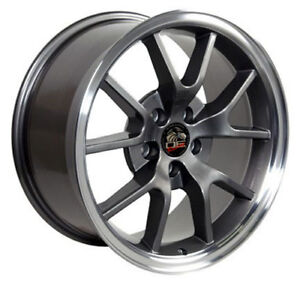 18 Ford Mustang Fr500 Style Rims Wheels Staggered Anthracite And Machine Set 4