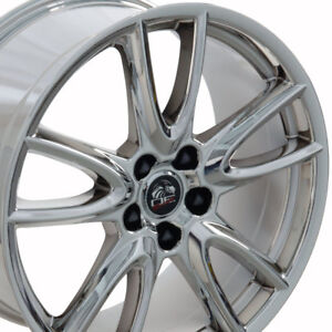 19 Ford Mustang Style Rims Wheels Replacement Staggered Pvd Chrome New Set Of 4