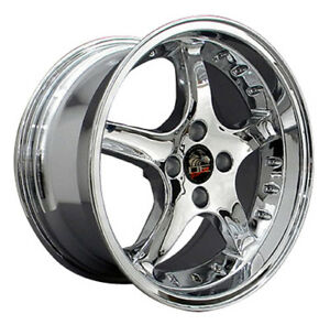 17 Ford Mustang Cobra R Style Rims Wheels 4 Lug Replica Staggered Chrome 79 93