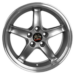 17 Ford Mustang Cobra R Style Rims Wheels Staggered Replacement Gunmetal Set 4