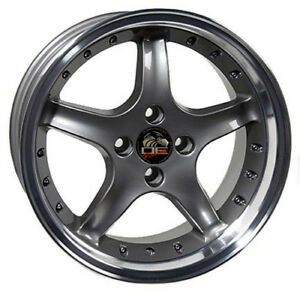 17 Ford Mustang Cobra R Style Rims Wheels 4 Lug Replacement Grey 79 93 17x8