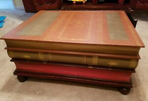 Vintage 3drawer Maitland Smith Regency Style Stacked Leather Books Coffee Table