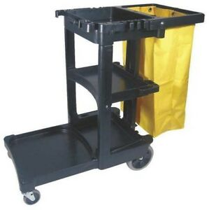 Janitorial Utility Cart Rubbermaid Carts Wheels Commercial Janitor Housekeeping