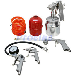 5 Pc Air Tool Kit Tire Inflator Spray Gun Washing Air Duster Recoil Hose 1 4 Npt