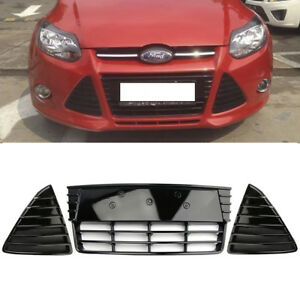 3pcs Front Bumper Lower Grille Grills Gloss Black For Ford Focus 2012 2013 2014