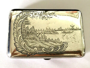 Antique Russian Imperial 84 Silver Cigarette Case Floral Etched Decor 146 5 Gr