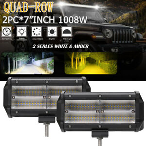 2pcs 7inch 1008w Cree Led Work Light Bar Flood Beam Offroad Fog Lamps Truck Suv
