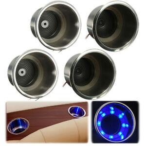 4pcs Nice Led Blue Stainless Steel Cup Drink Holder Marine Boat Car Truck Camper