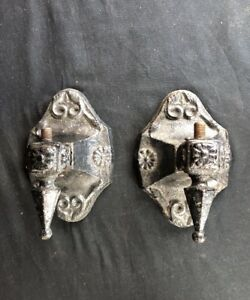 A Antique Pair Cast Iron Gas Wall Porch Sconce Marked N L S Pat 1924