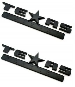 2 Gloss Blacked Out Texas Edition Emblem Decal For Chevy Silverado Sierra Truck