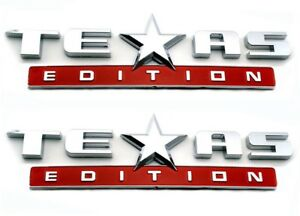 2 Red And Chrome Texas Edition Emblem Decal For Chevy Silverado Gmc Sierra Truck