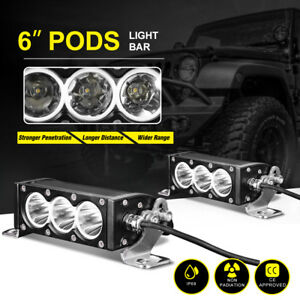 Pair 6inch Led Pods Work Light Bar 36w Spot Single Row Driving Fog Lamp Offroad
