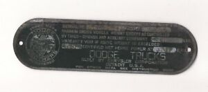 Vintage Antique Dodge Bros Data Serial Number Plate Dodge Truck