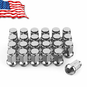 24 Chrome Bulge Acorn 14x1 5 Lug Nuts Closed For Chevy Gmc 6x5 5 Toyota Cadillac