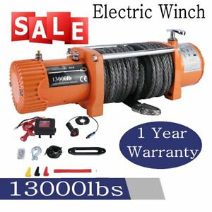 12v 13000lbs Electric Winch Towing Truck Trailer Synthetic Rope 12000lbs Usa