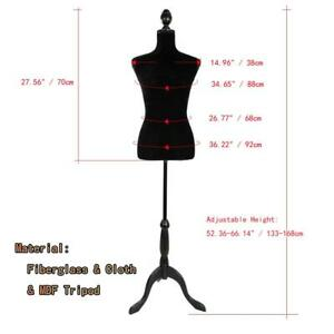New Black Female Mannequin Torso Clothing Display Dress W White Tripod Stand