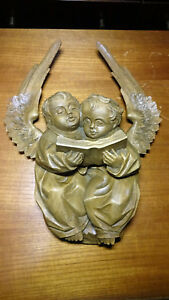 Antique Unique Wood Hand Carved Pair Flying Singing Angels Cherub Putto Statue
