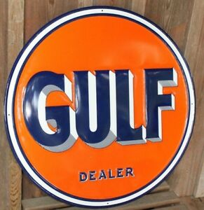 Large 30 Gulf Dealer Vintage Style Signs Gas Pump Garage Man Cave Oil Pump