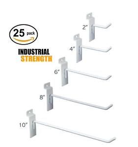 White Slatwall Hooks Combo Pk Of 25 Assorted Sizes 5 Of Ea 2 4 6 8 10