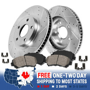 Front Kit Drilled And Slotted Brake Rotors Ceramic Pads For 98 02 Crown Vic