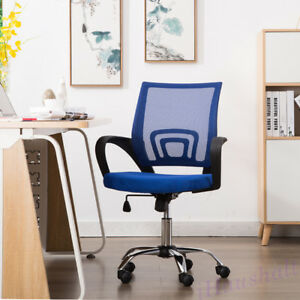 Blue Ergonomic Office Chair Mesh Seats Mid Back Adjustable Height Computer Desk