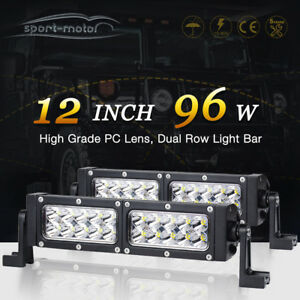 14 200w Dual Color White Blue Led Light Bar Offroad Emergency Warning Lamp Suv