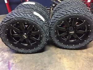 22x10 Moto Metal Mo962 Black Wheel And Tire Package 33 Fuel Mt 6x5 5 Chevy Gmc