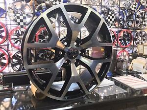 22 Gmc Chevy Sierra Silverado Denali Style Rims Wheels Black Machn D