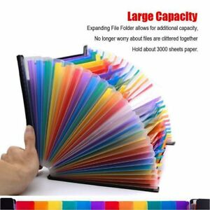 24 Pockets Expanding File Folder Organizer desk Expandable File Folders portable
