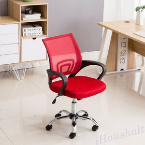 Mesh Mid Back Red Office Chair Computer Desk Task Chair Ergonomic 360 Swivel