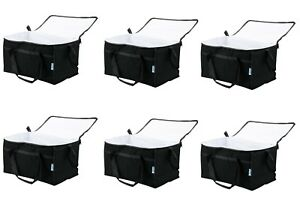 6 Pack Insulated Black Nylon Hot Cold Catering Delivery Food Carrier Bag Cooler