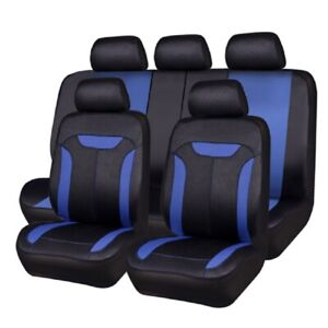 Aritificial Breathable Blue Color Car Seat Cover Universal Fit 40 60 50 50 Split
