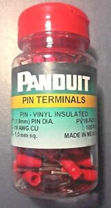 Panduit Pv18 p47 cy Pin Terminal Red 22 To 18 Awg 100 Pack Vinyl Insulated