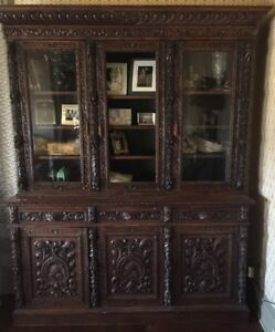 Large Antique Carved French Renaissance Style 6 Door Bookcase Hunt Cabinet