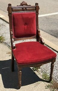 Antique Carved Mint Burgundy Crimson Red Mission Style Oak Sitting Room Chair
