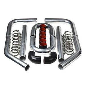 Universal 2 5 63mm Polished Aluminum Intercooler Pipe Kit T clamp bkrd Hose