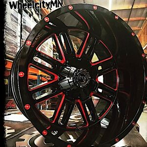 20 X12 Inch Red Gloss Black Scorpion Sc18 Rims Fits Lifted 2018 Chevy Silverado