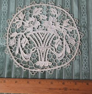 Antique C1900 French Point De Venise Handmade Lace 6 1 2 Round Baskets Roses