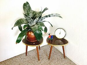 Pair Tripod Mid Century Plant Stand Table Display Side End Table Formica Vintage