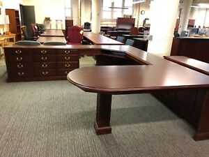 Executve U shape Desk By Harden Office Furniture In Dark Cherry Color Wood