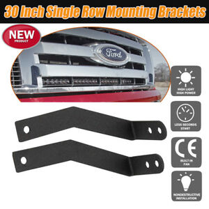 30 Inch Single Row Led Light Bar Hidden Grille Mount Bracket For 09 14 Ford F150