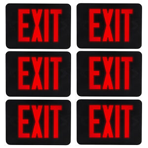 6pack emergency Led Black red Exit Sign Slim Low Profile Emergency Light