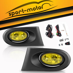 For 2002 2003 2004 Acura Rsx Dc5 Jdm Yellow Bumper Fog Lights W Wiring