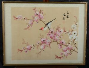 Vintage Or Antique Chinese Silk Painting Song Bird In Peach Blossom Tree Signed