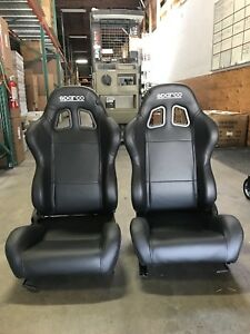 Sparco Street R100 Black Pu Leather Seat 00961nrsky 2 Seats New W Flaw
