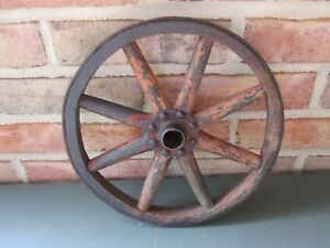 Vtg Antique 1800 S Hand Made 10 Wood 8 Spokes Wagon Wheel Cast Iron Rim Hub Ex