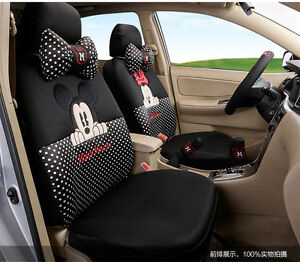 18 Piece Black And White Polka Dot Mickey And Minnie Mouse Car Seat Covers