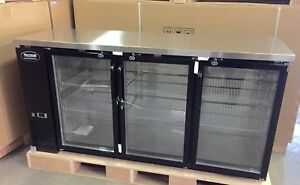 Back Bar Cooler 72 Underbar Beer 3 Door Glass 6 Refrigerator Backbar