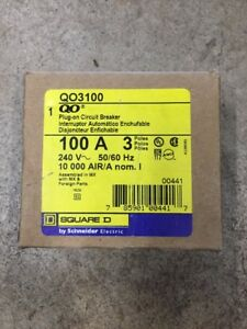 Square D Qo3100 3 Pole 100 Amp Circuit Breaker Qo Plug In Brand New In Box