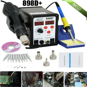 Latest 2in1 Smd Soldering Rework Station Hot Air Iron 898d 11tips Esd Plcc He